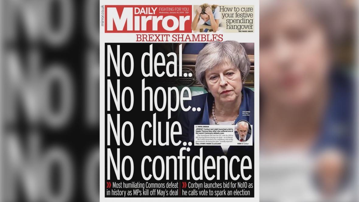 Daily Mirror: Žádná dohoda... Žádná naděje... Žádné ponětí... Žádná důvěra