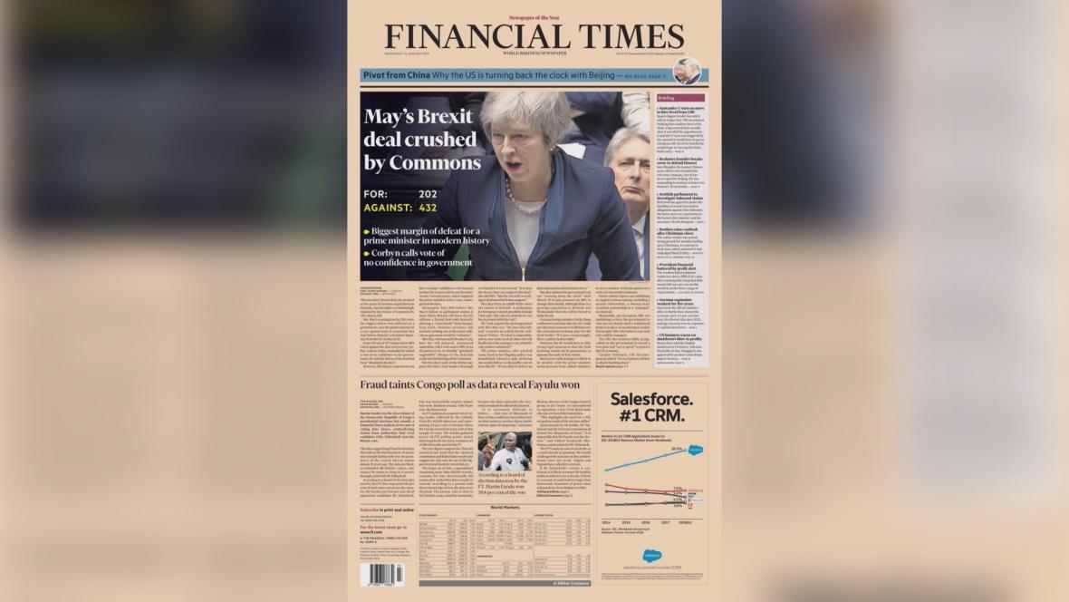The Financial Times: Poslanci rozdrtili brexitovou dohodu Mayové