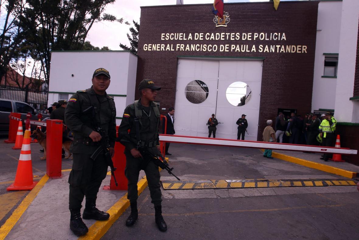 Policie na místě útoku v Bogotě