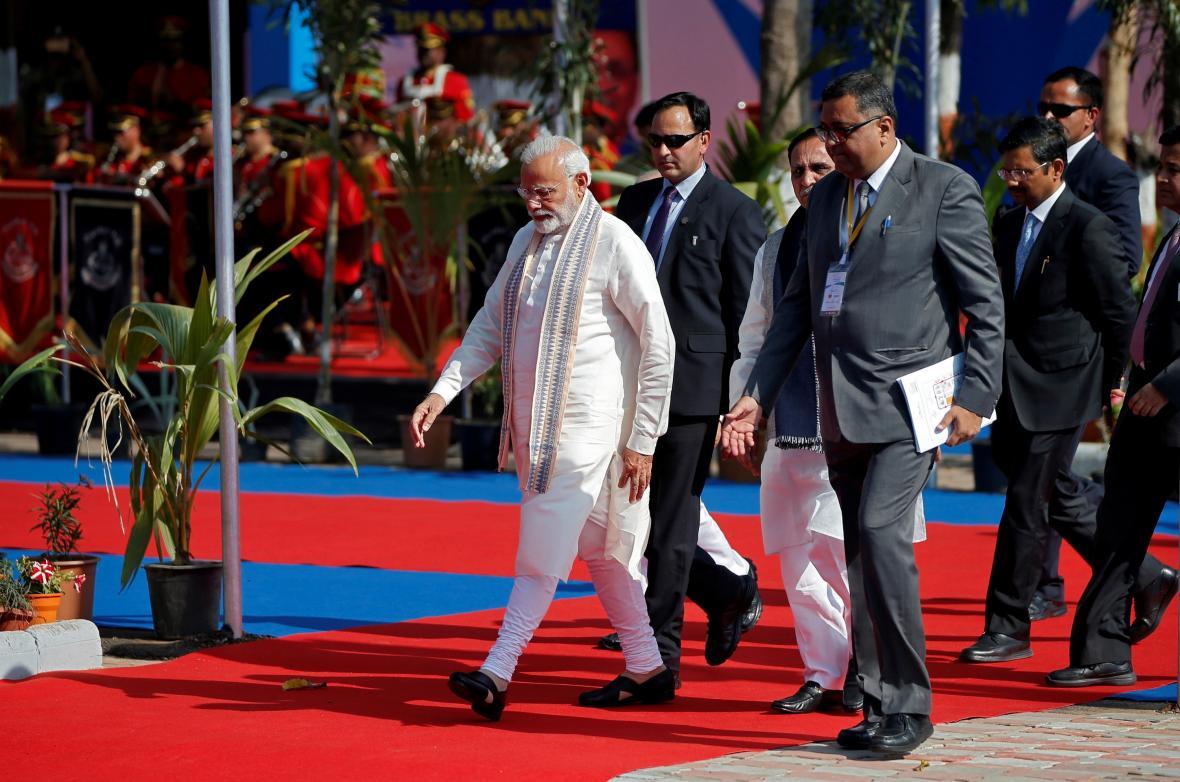 Indický premiér Naréndra Módí při zahájení investičního fóra Vibrant Gujarat Summit