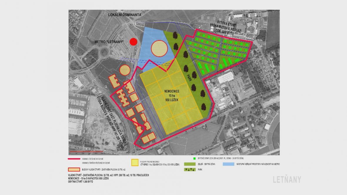 Předběžný návrh areálu v Letňanech