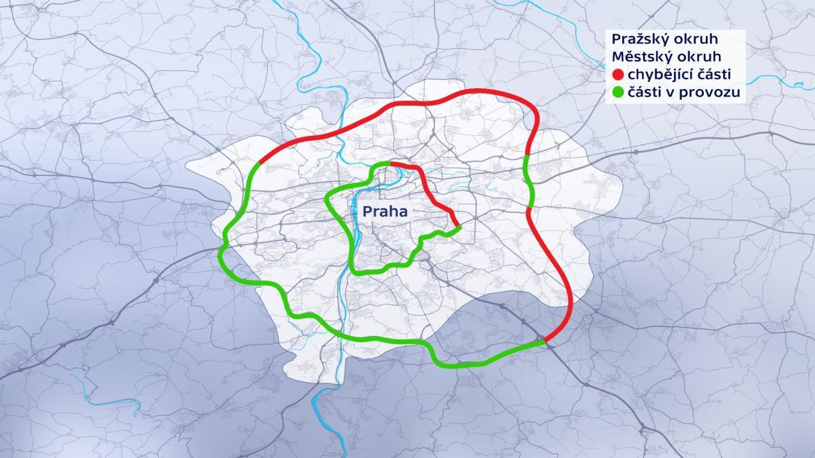 Vnitřní a vnější okruh Prahy