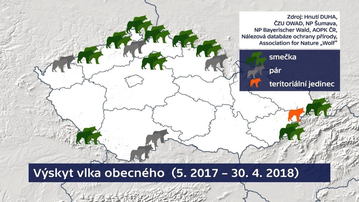 Výskyt vlka v Česku