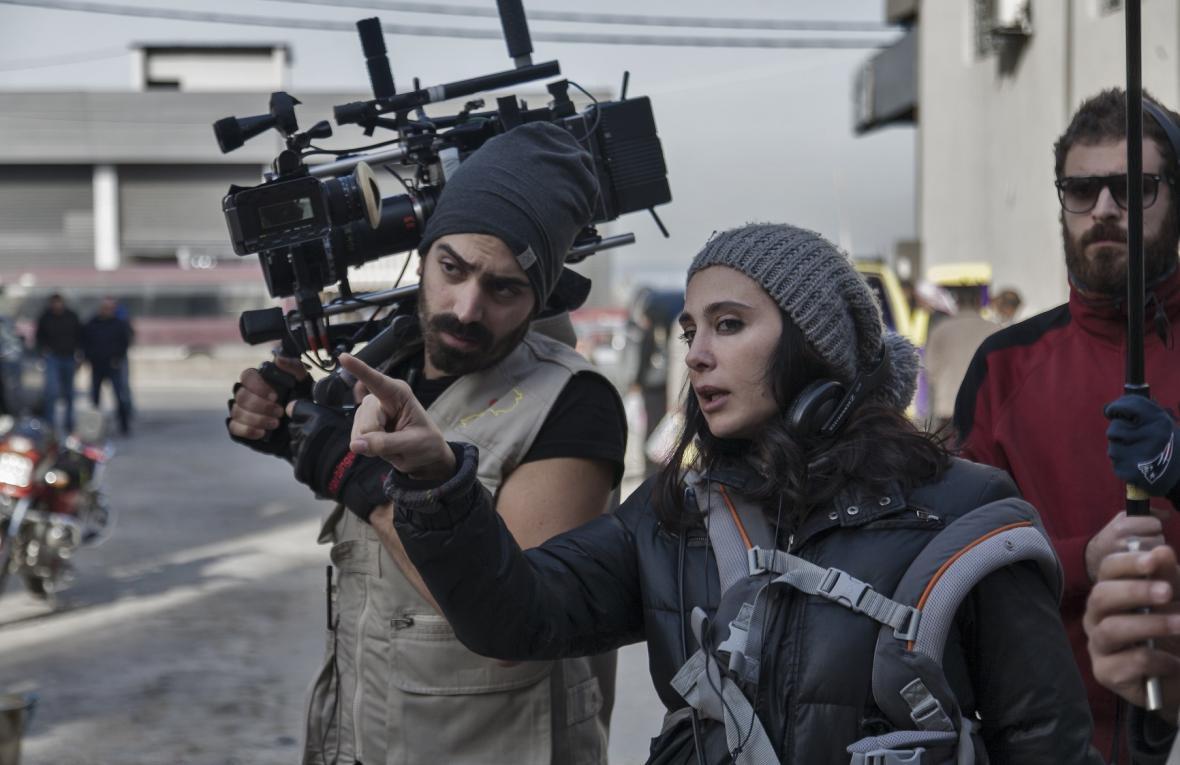 Nadine Labakiová při natáčení filmu Kafarnaum
