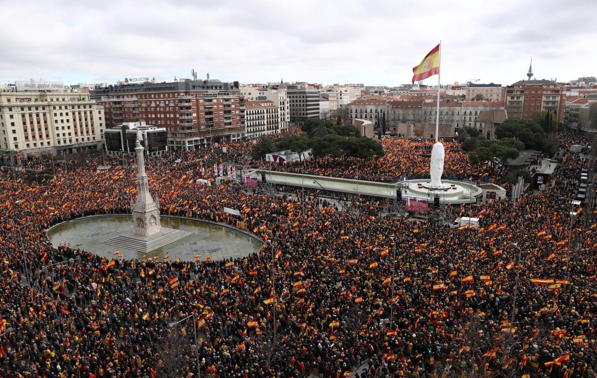 Protivládní protest v Madridu