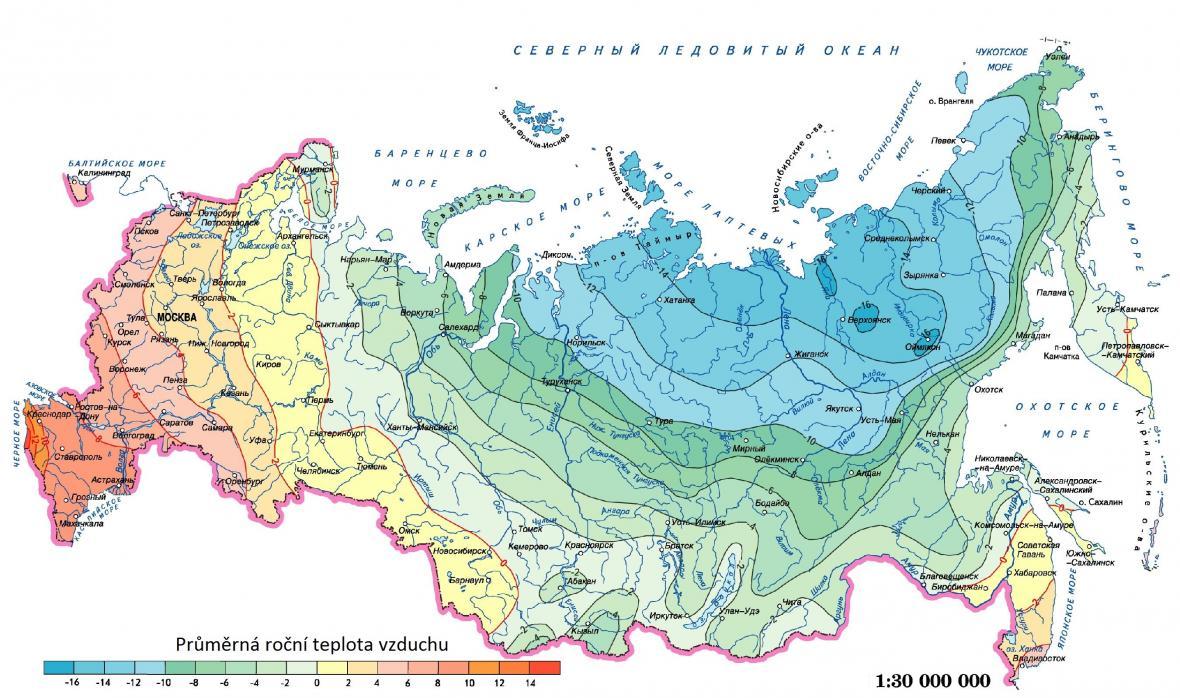Průměrné roční teploty vzduchu v Rusku