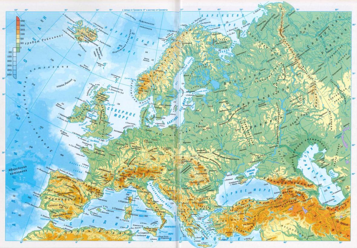 Mapa Evropy. Nížiny jsou zelené, vrchoviny žluté a hory hnědé.