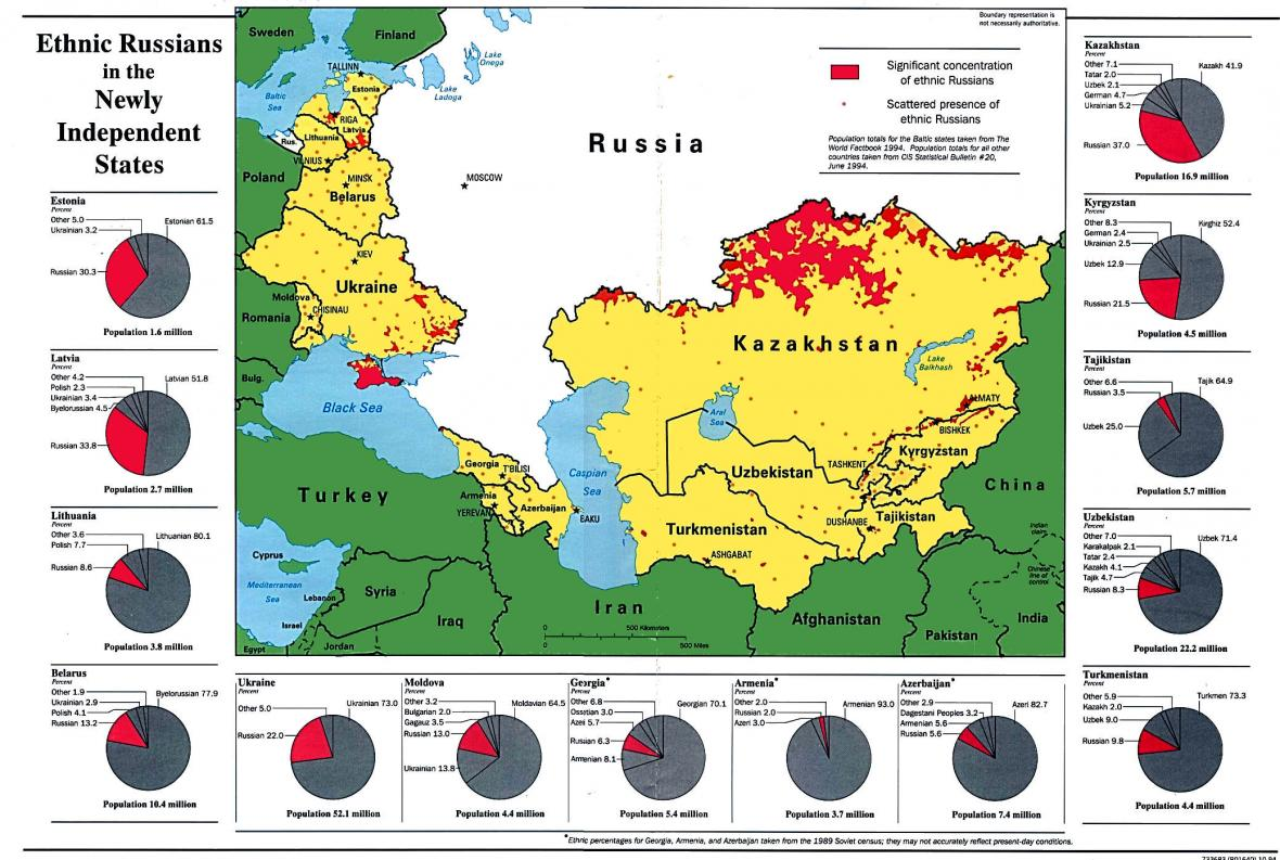 Rusové za hranicí Ruska po roce 1991. Červeně souvisle obydlené území, tečkami rozptýlené komunity