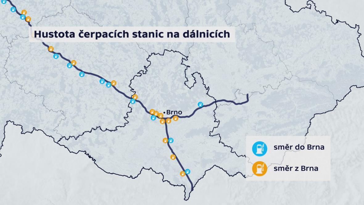 Hustota čerpacích stanic na dálnicích