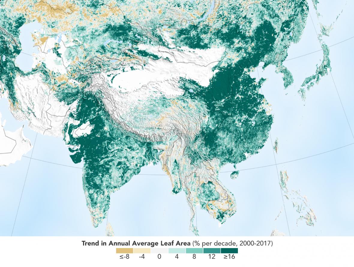 Přibývání zeleně v Asii