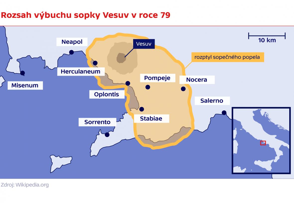 Rozsah výbuchu sopky Vesuv v roce 79