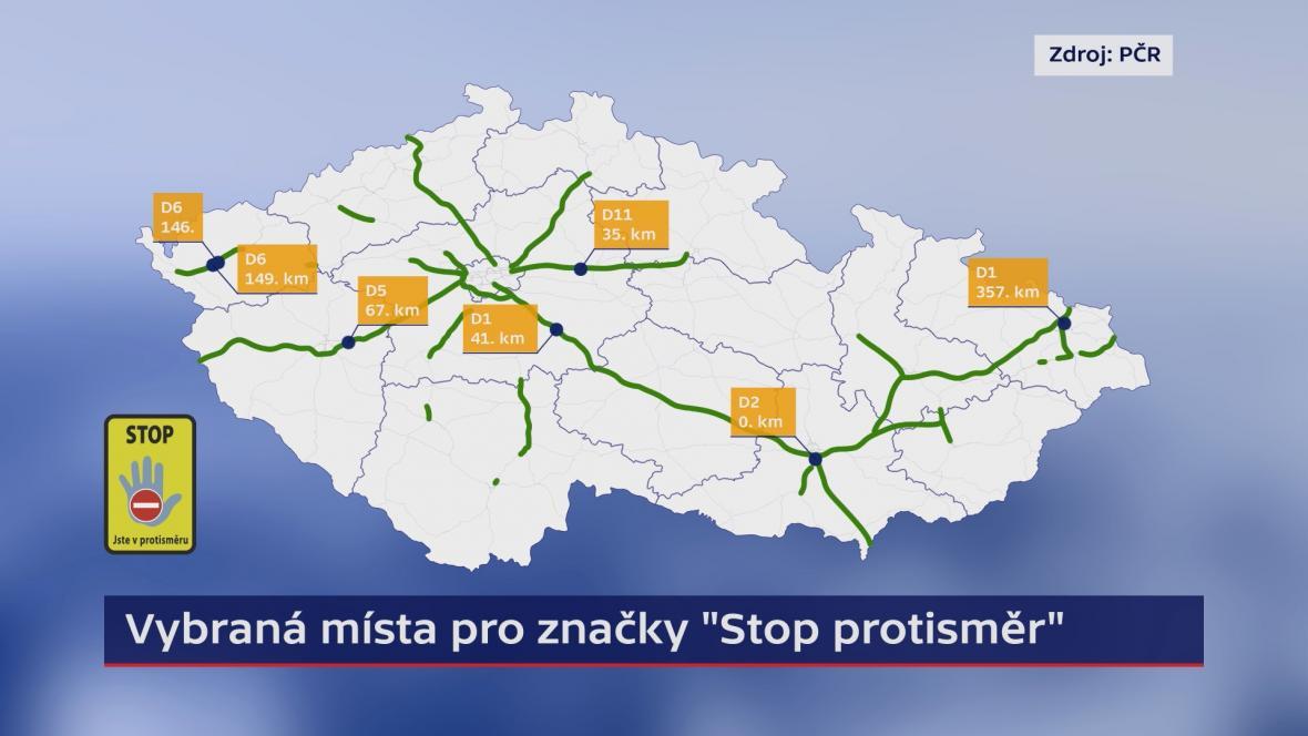 Vybraná místa pro značky Stop protisměr