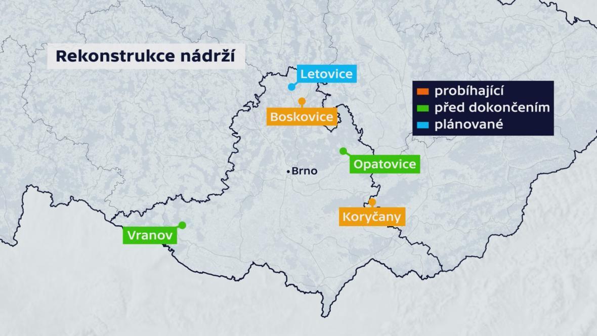 Rekonstrukce nádrží na jihu Moravy