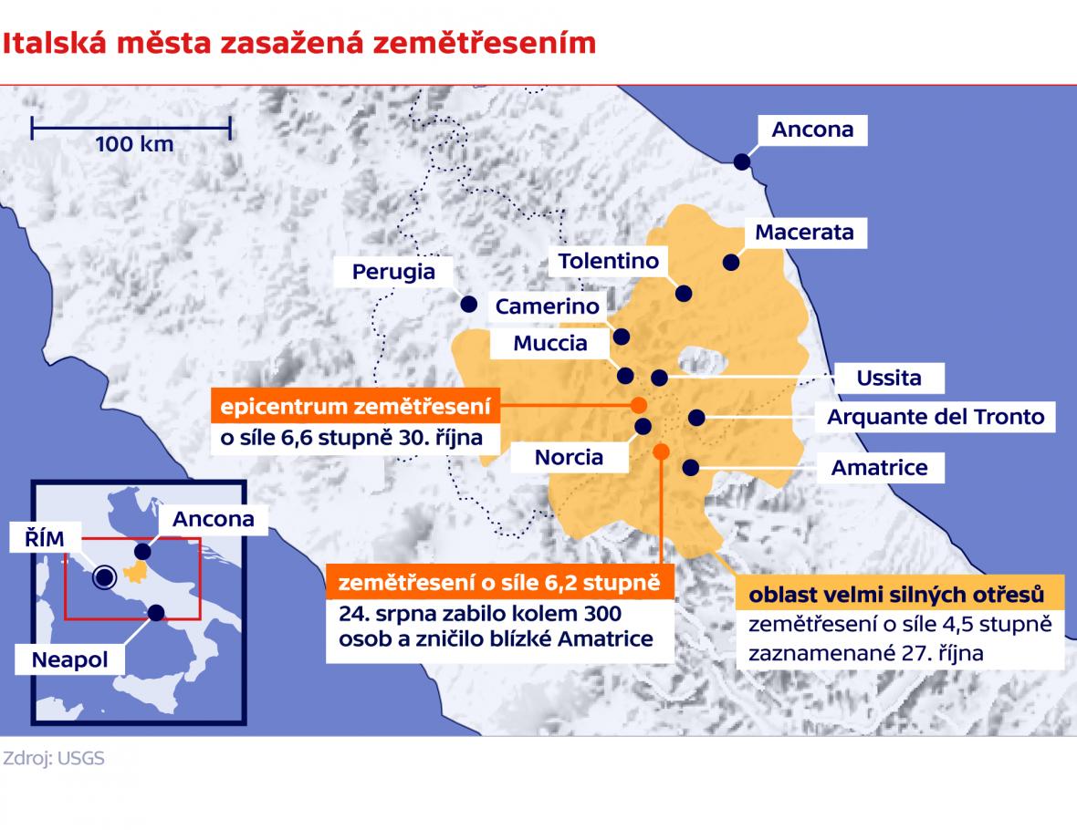 Italská města zasažená zemětřesením