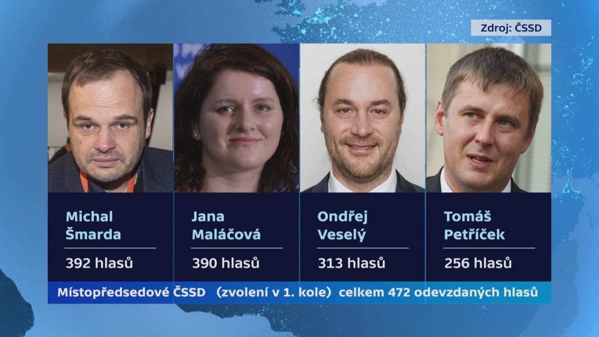 Nově zvolení místopředsedové ČSSD