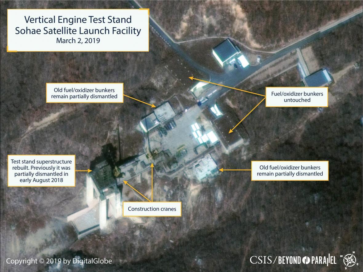Satelitní snímky střelnice Sohe ukazují, že v areálu probíhá rekonstrukce