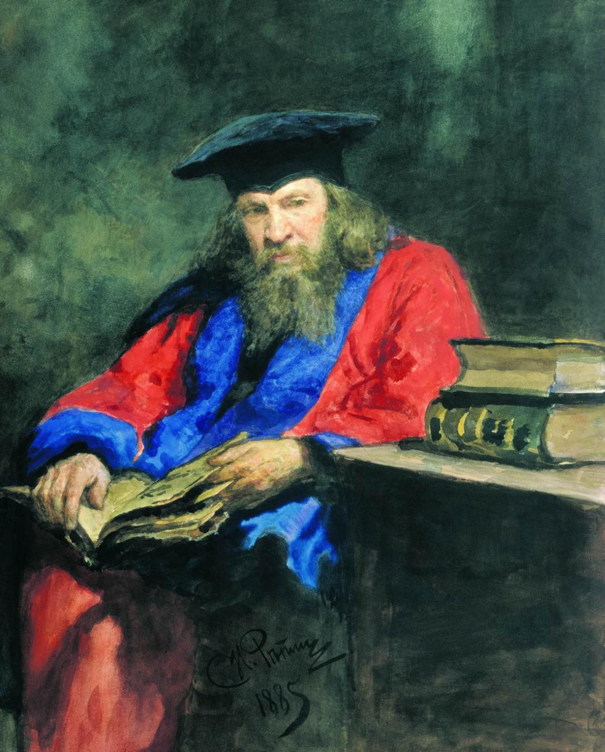 Portrét D. I. Mendělejeva od I. J. Repina