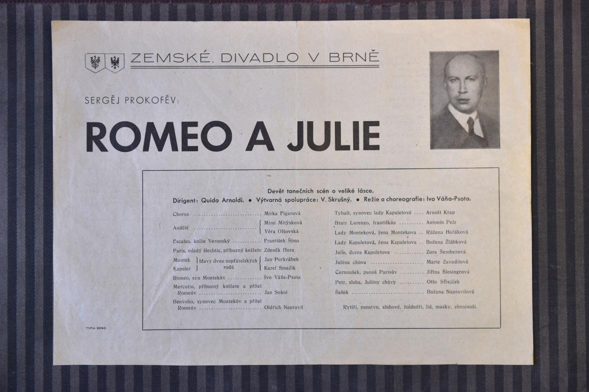 Původní leták k baletu Romeo a Julie z roku 1938