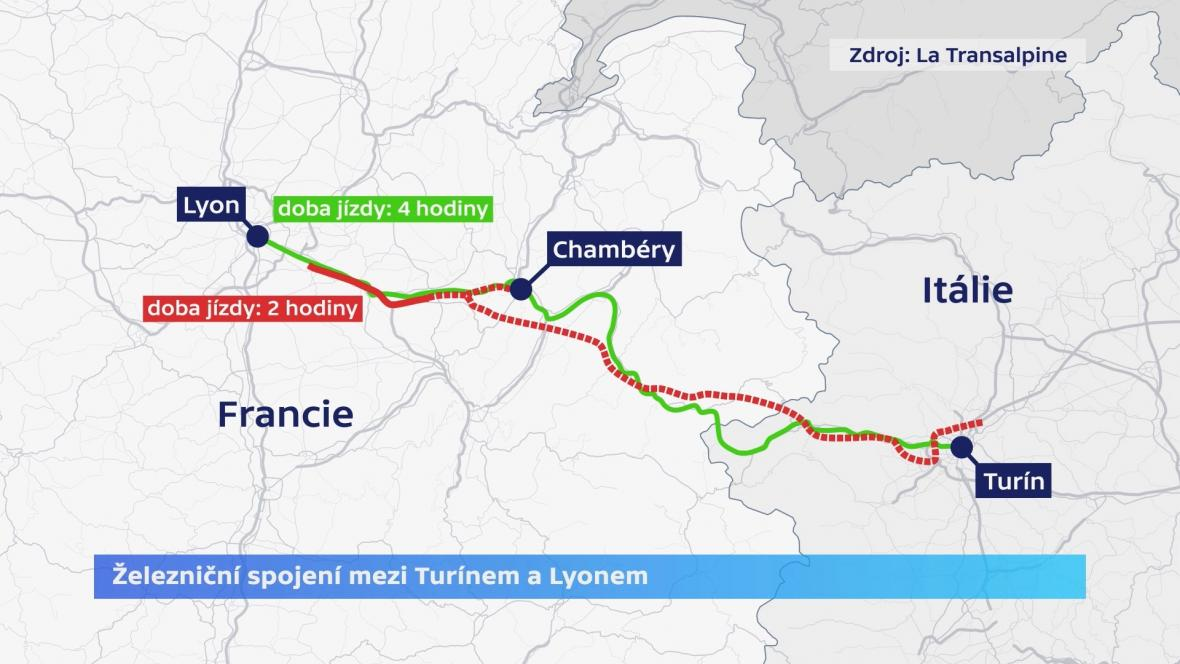Spojení mezi Turínem a Lyonem