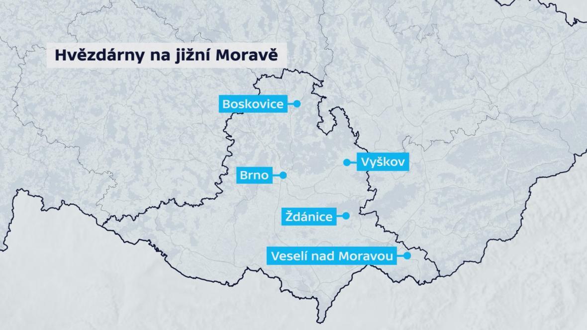 Hvězdárny na jižní Moravě