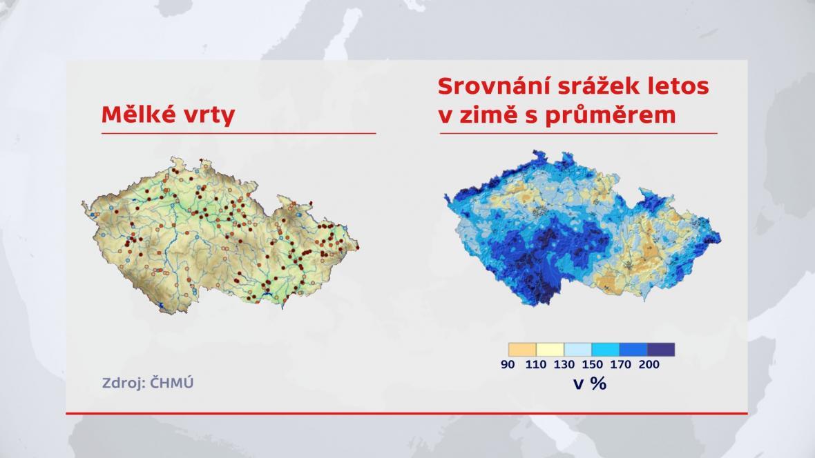Mělké vrty; Srovnán srážek letos v zime s průměrem
