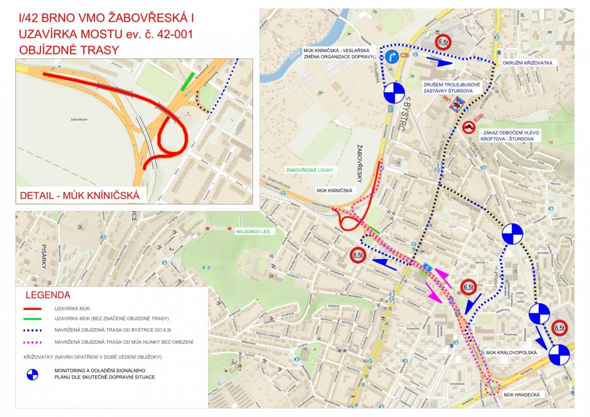 Dopravní omezení v Brně - Žabovřeskách