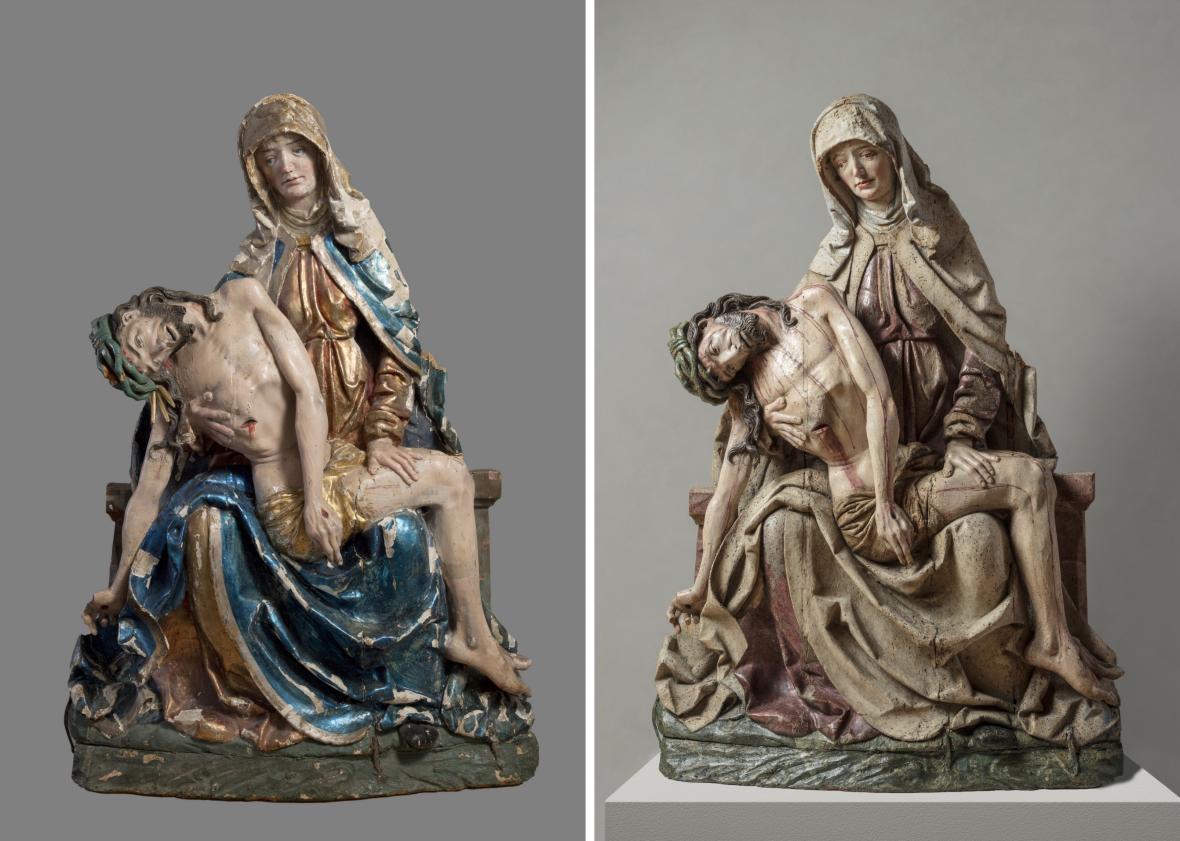 Pieta z Bílska, před a po restaurování