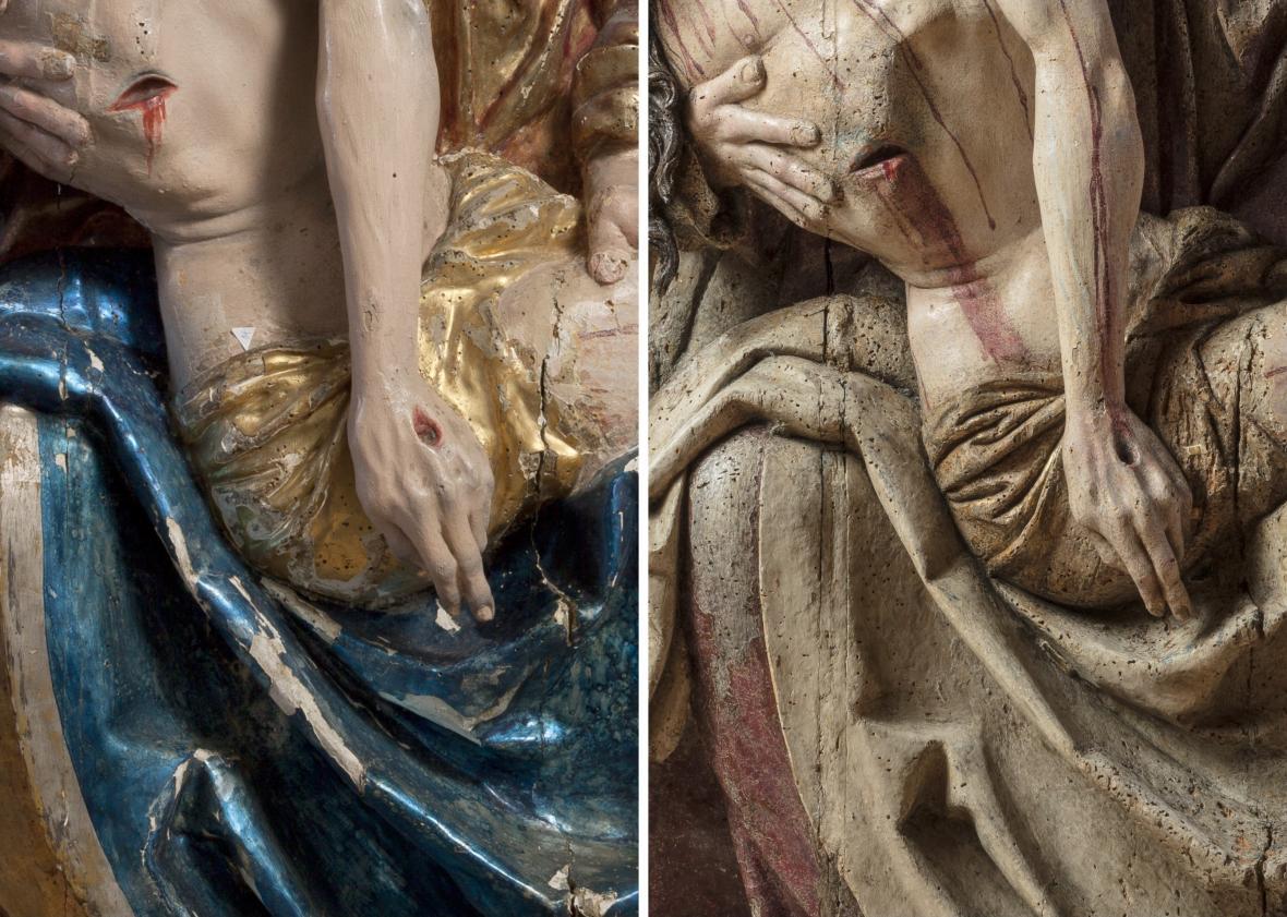 Pieta z Bílska (detail), před a po restaurování