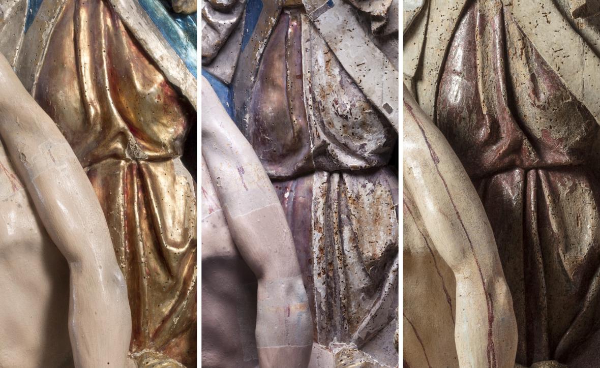 Pieta z Bílska (detail), snímání polychromie