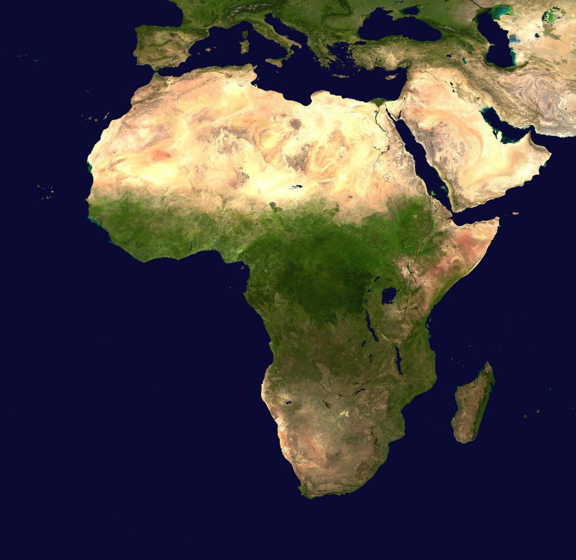 Satelitní snímek Afriky