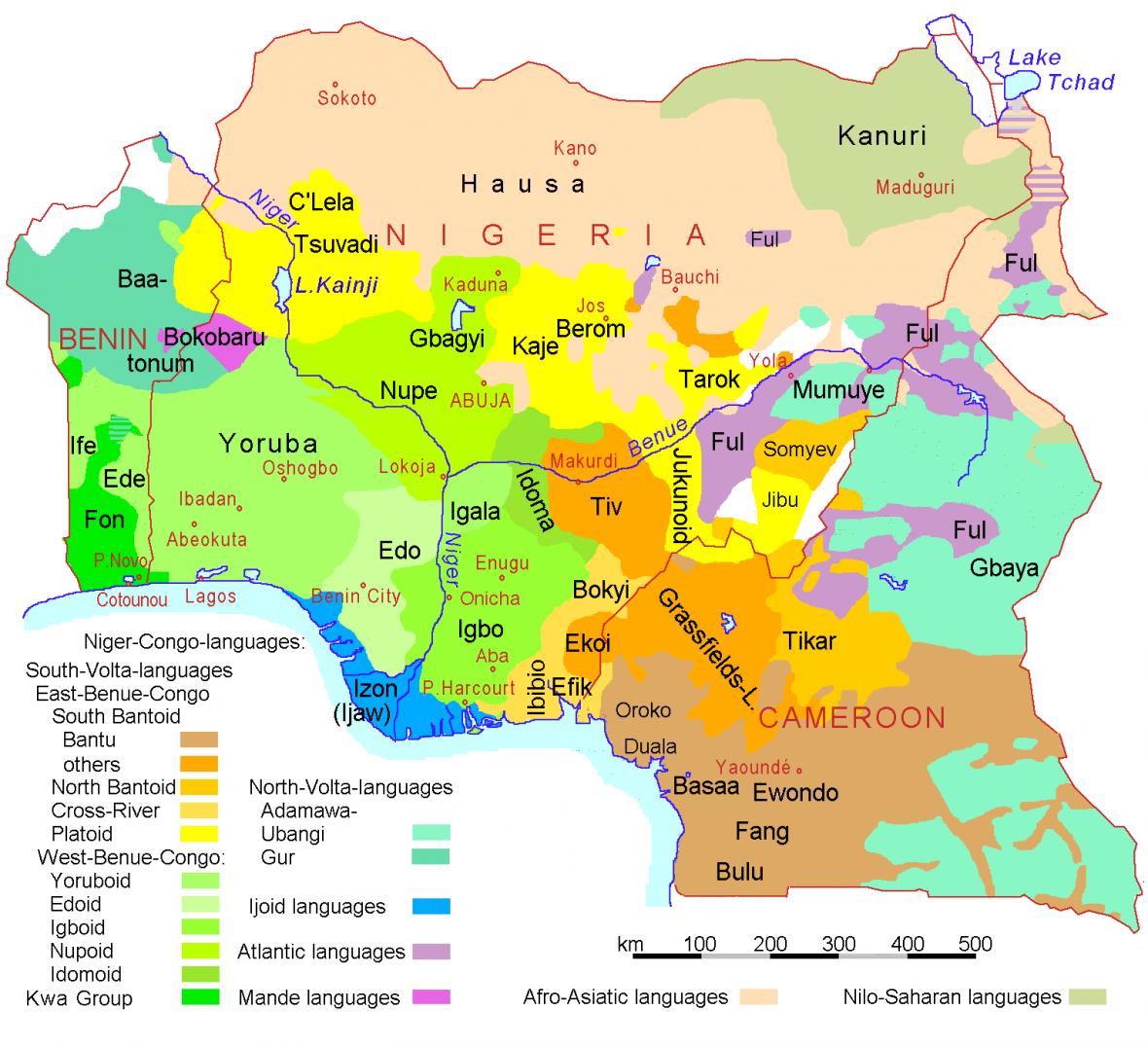 Jazyky a národy v Beninu, Nigérii a Kamerunu