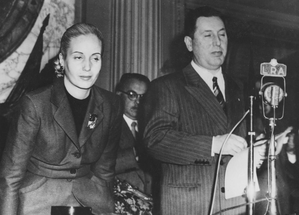 Eva Perónová se svým manželem Juanem
