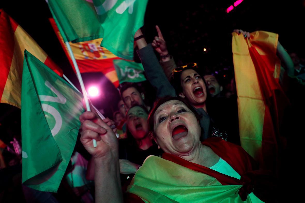 Podporovatelé strany Vox očekávají výsledky předčasných voleb