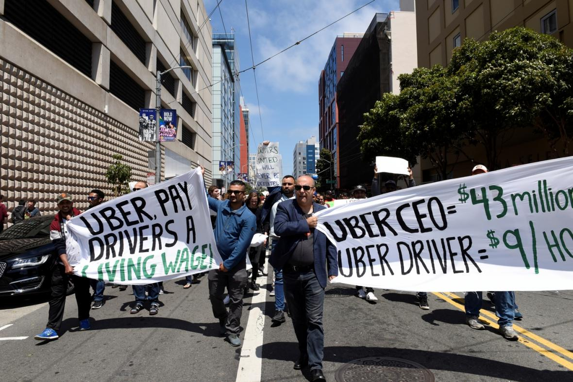 Protesty řidičů Uberu v San Francisku.