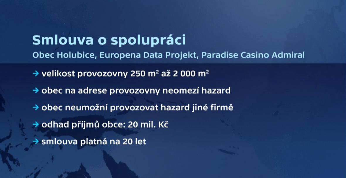 Smlouva o spolupráci Holubic s provozovatelem kasina