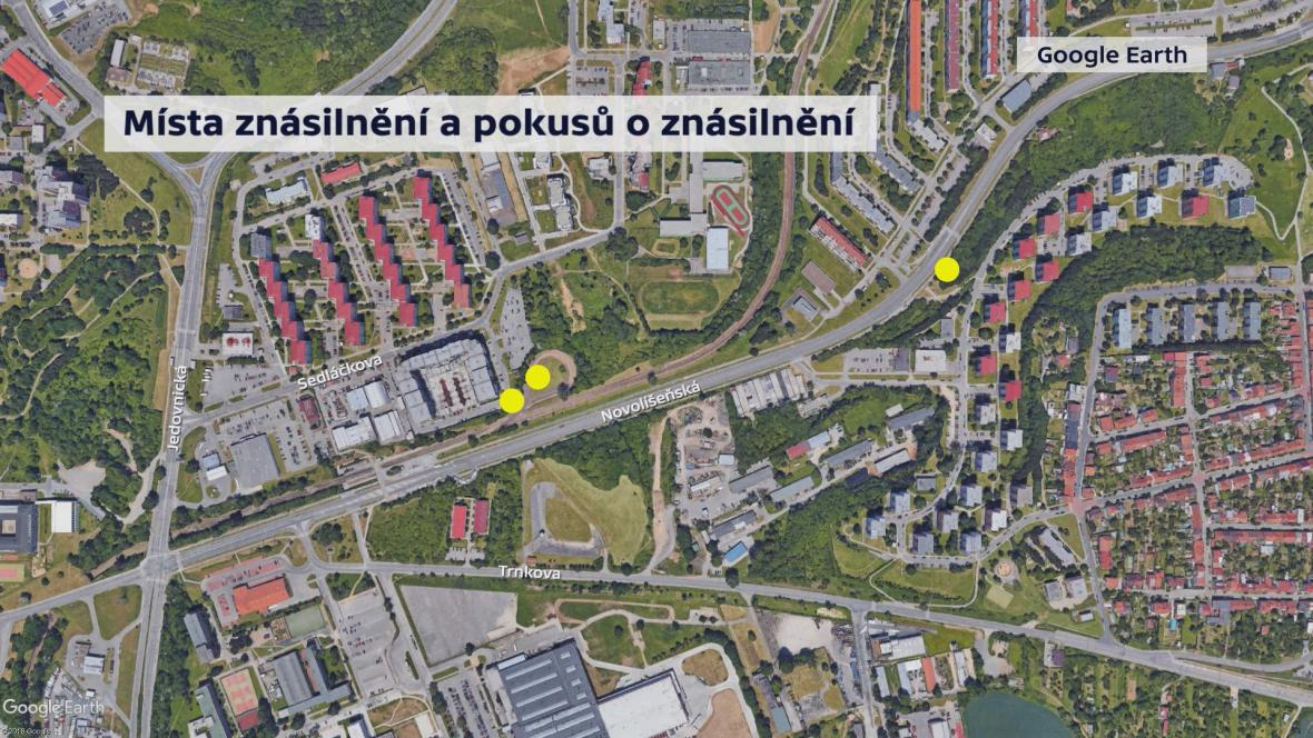 Místa znásilnění a pokusů o znásilnění v Brně-Líšni