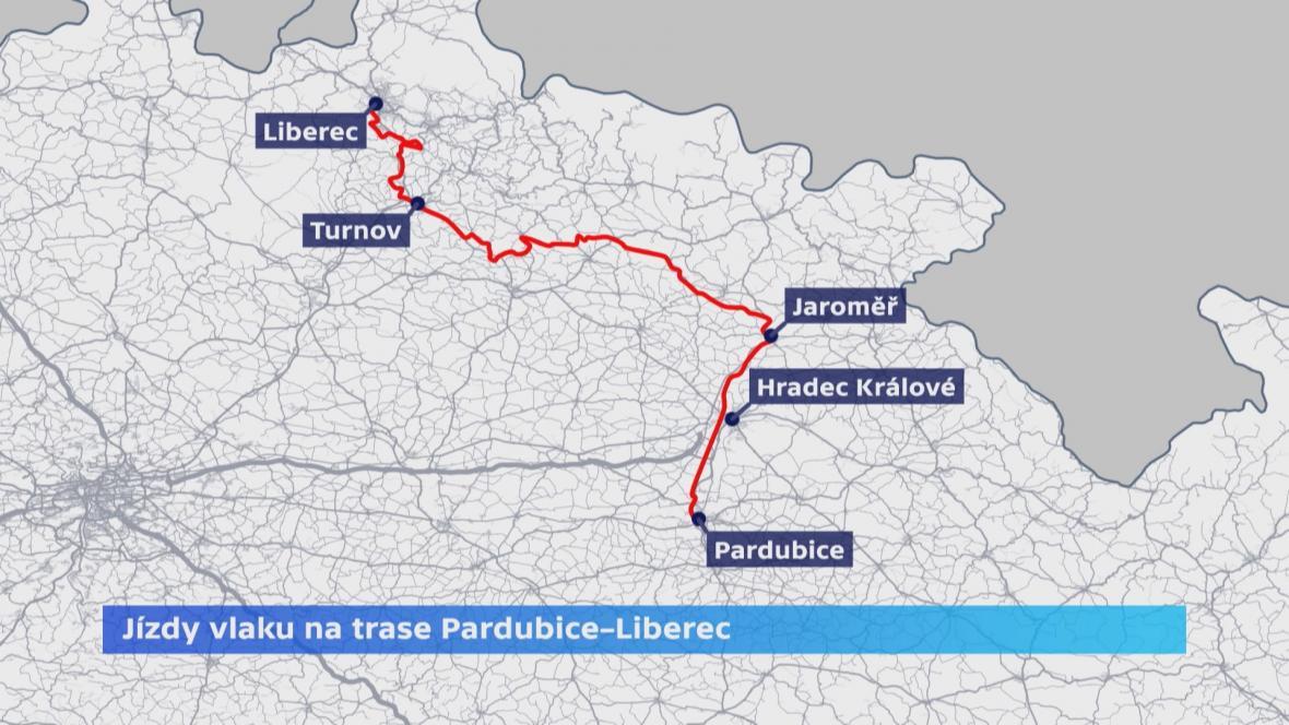 Trasa vlaku z Pardubic do Liberce