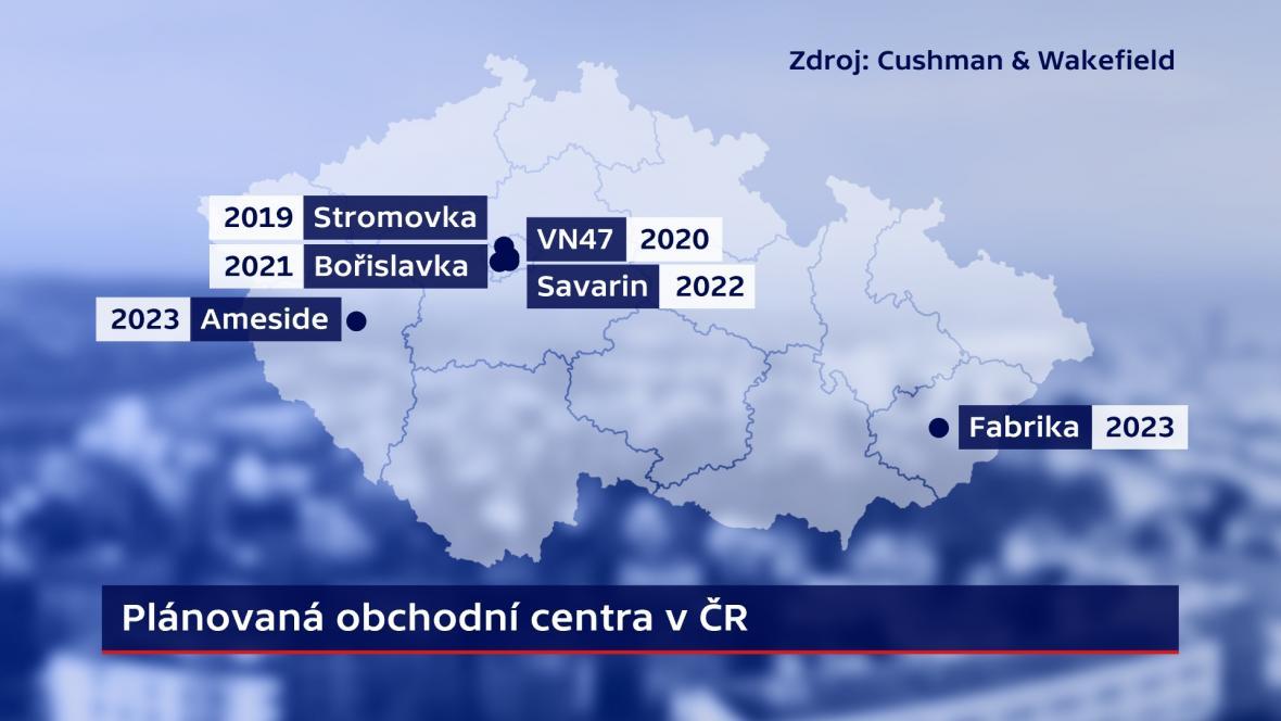 Plánovaná obchodní centra v ČR