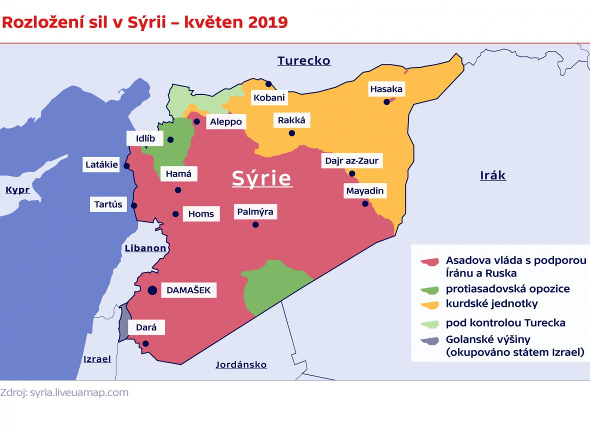 Rozložení sil v Sýrii – květen 2019