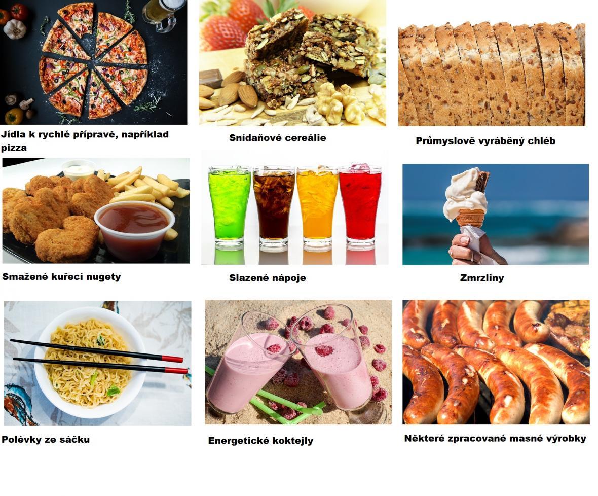 Příklady průmyslově zpracovaných potravin