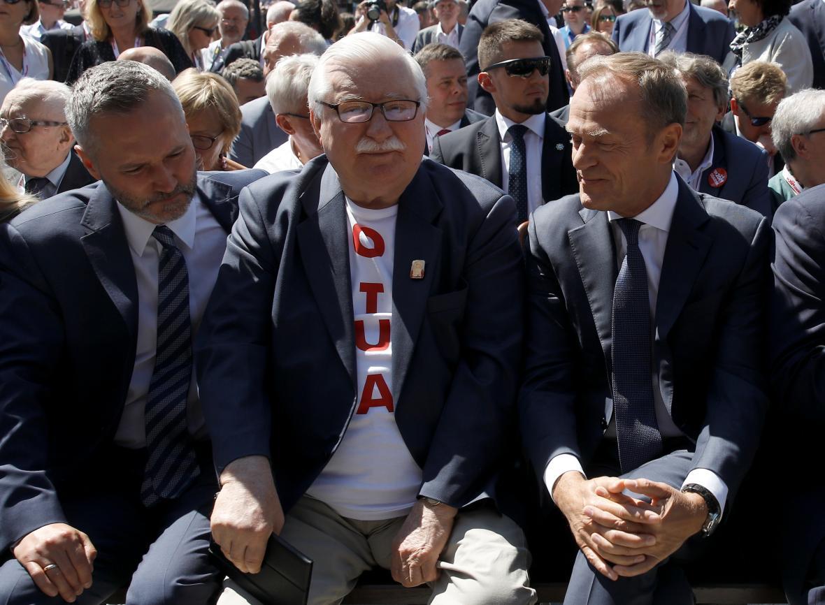 Lech Walesa a Donald Tusk na oslavách výročí v Gdaňsku