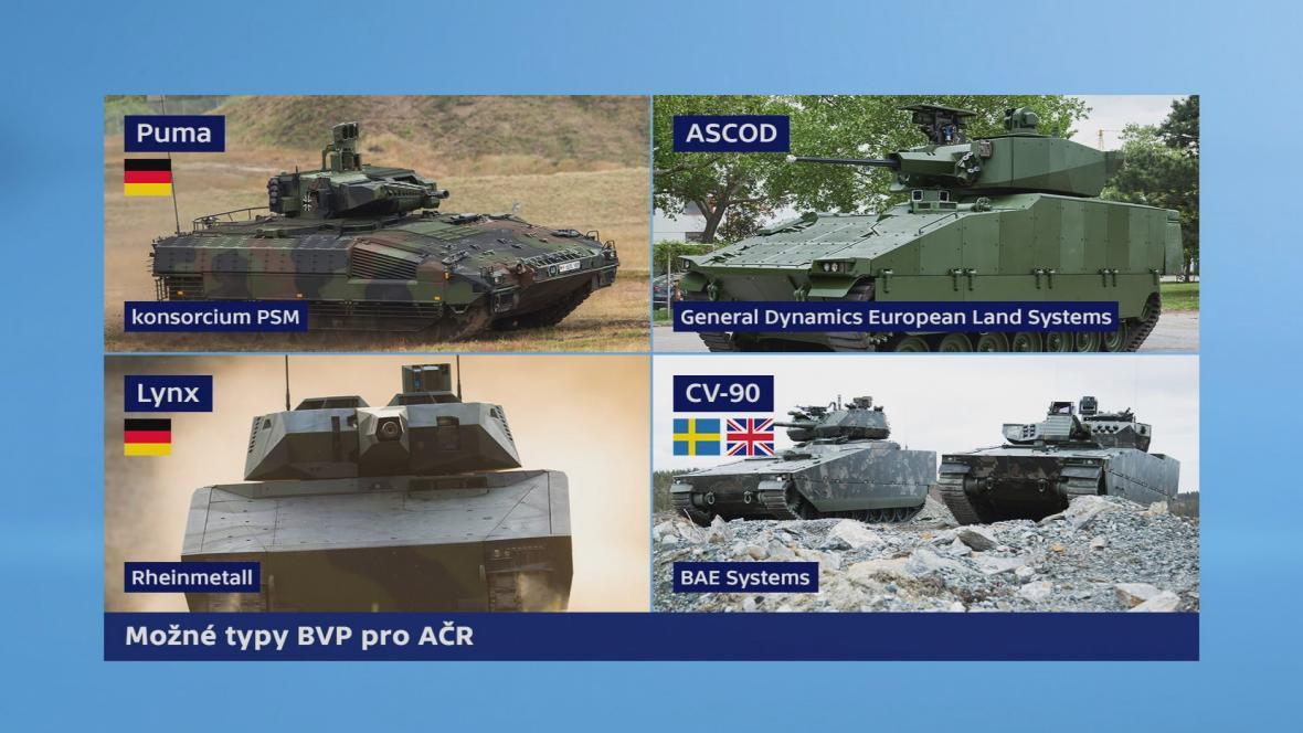 Možné typy BVP pro Armádu ČR