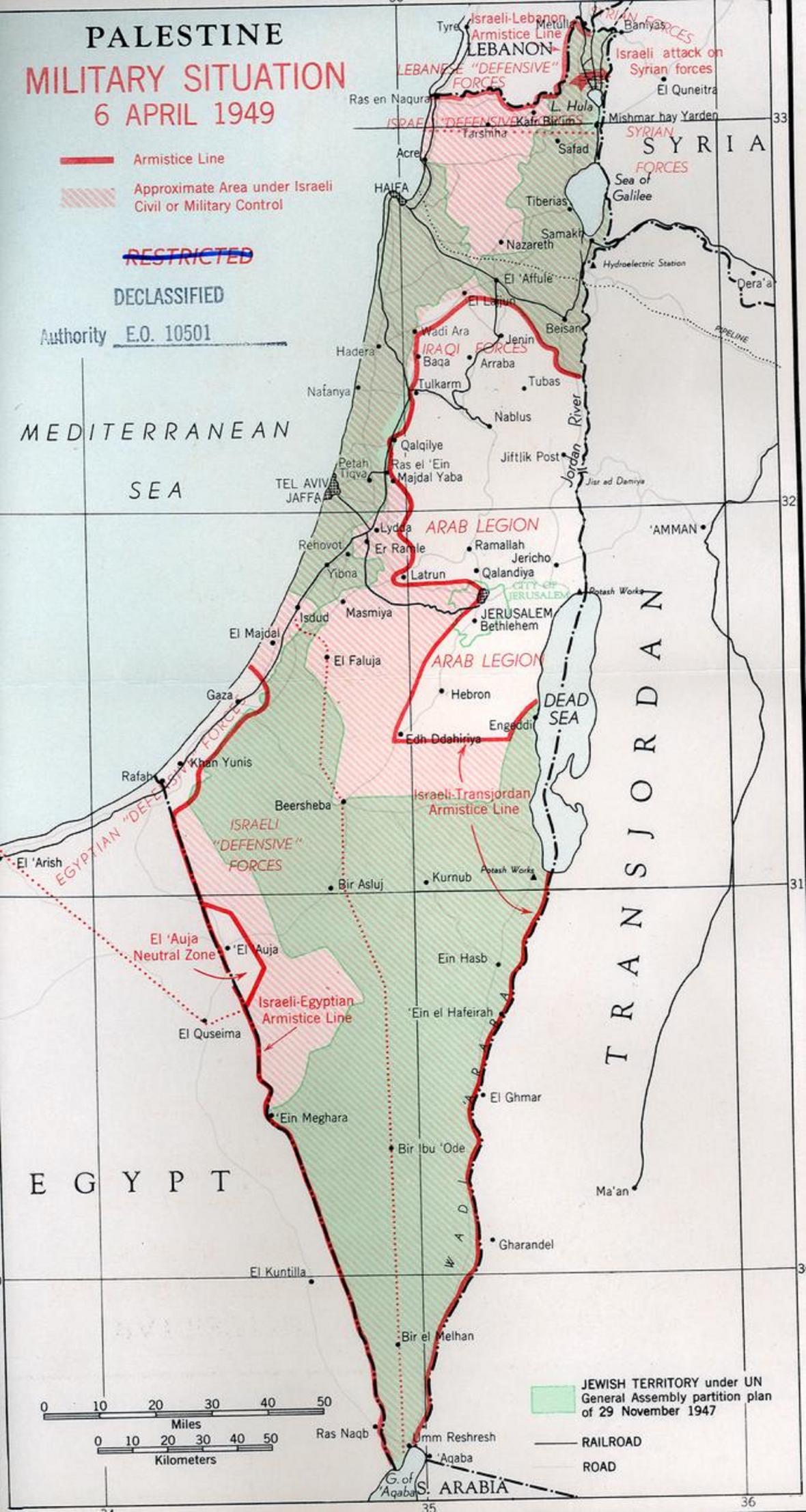 Mapa Izraele po příměří roku 1949