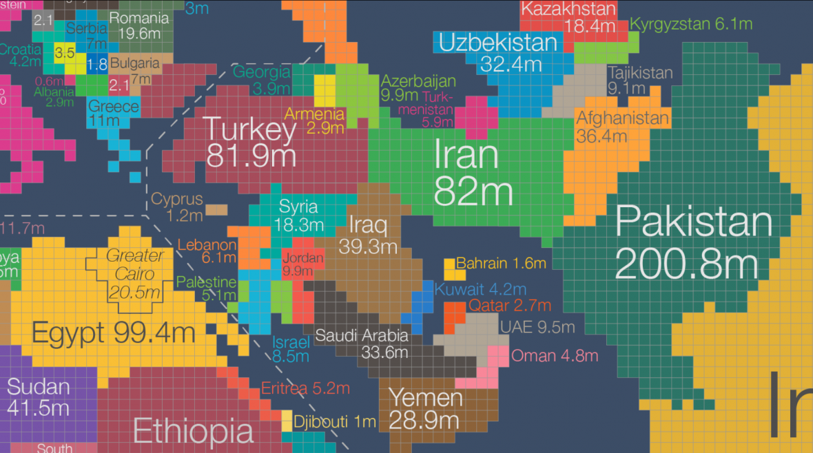 Anamorfovaná mapa Blízkého východu. Velikost odpovídá počtu obyvatel