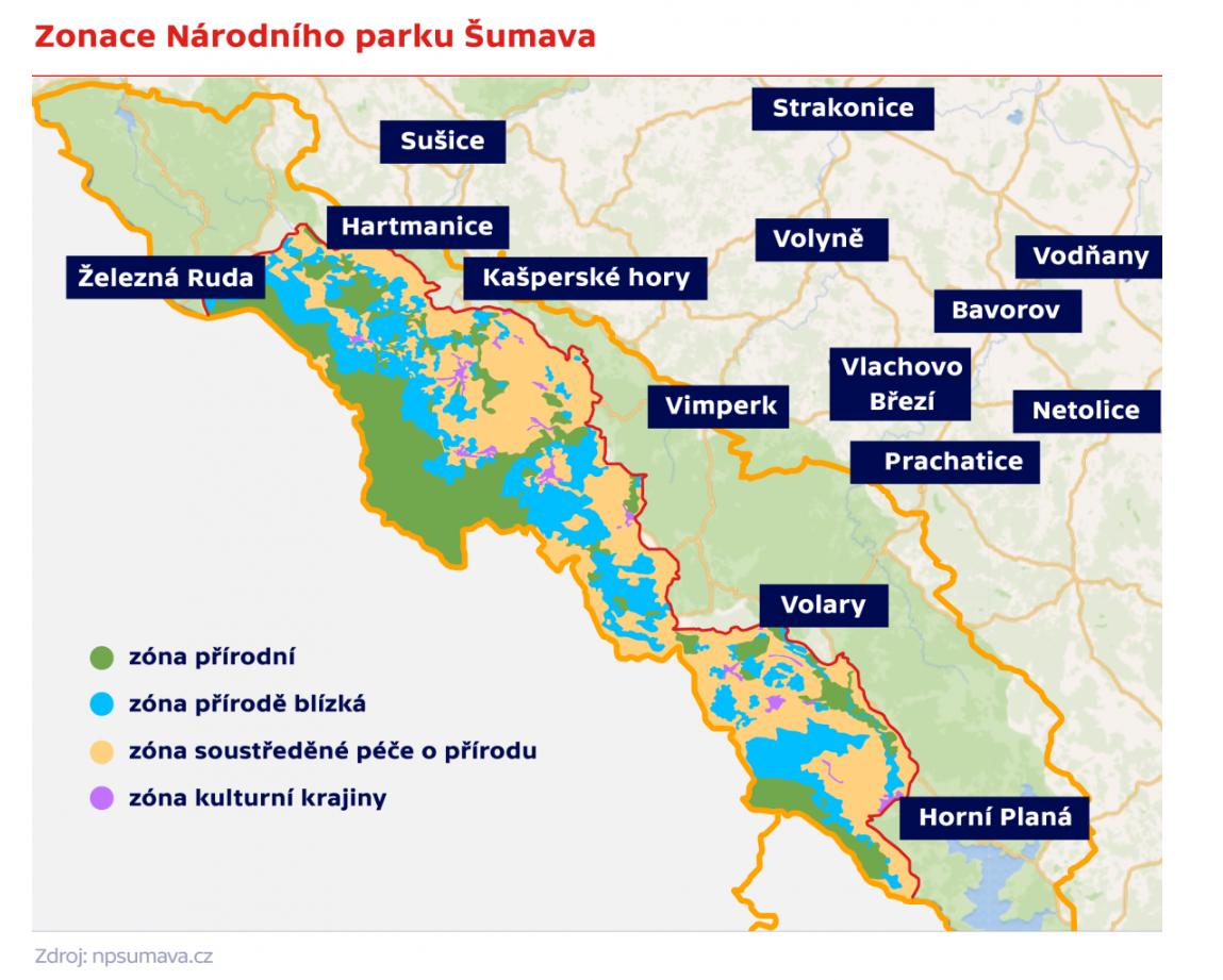 Zonace Národního parku Šumava