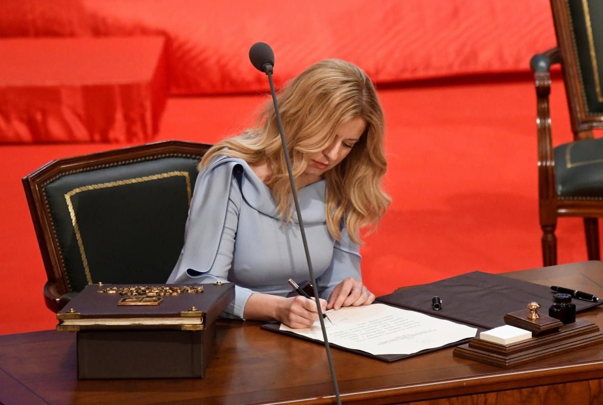 Zuzana Čaputová během prezidentské inaugurace