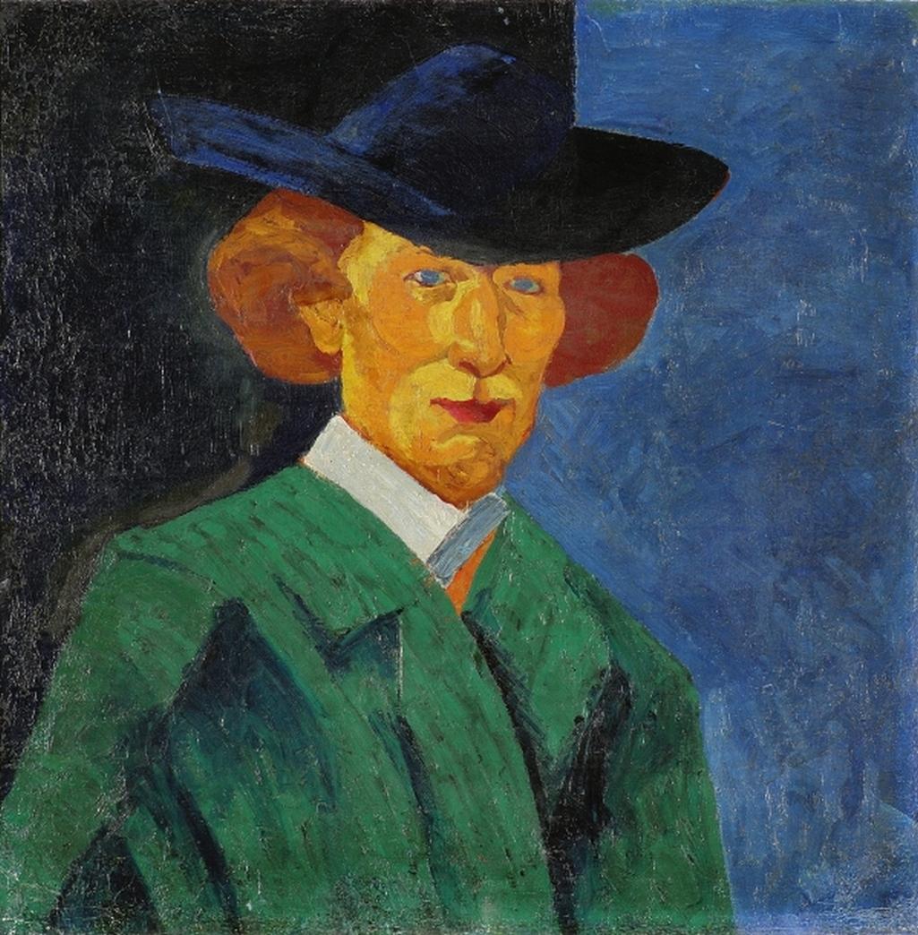 Bohumil Kubišta / Vlastní podobizna s modrým pozadím, 1908