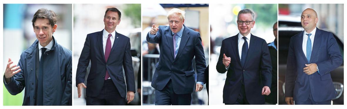 Kandidáti na šéfa konzervativců, zleva Rory Stewart, Jeremy Hunt, Boris Johnson, Michael Gove a Sajid Javid