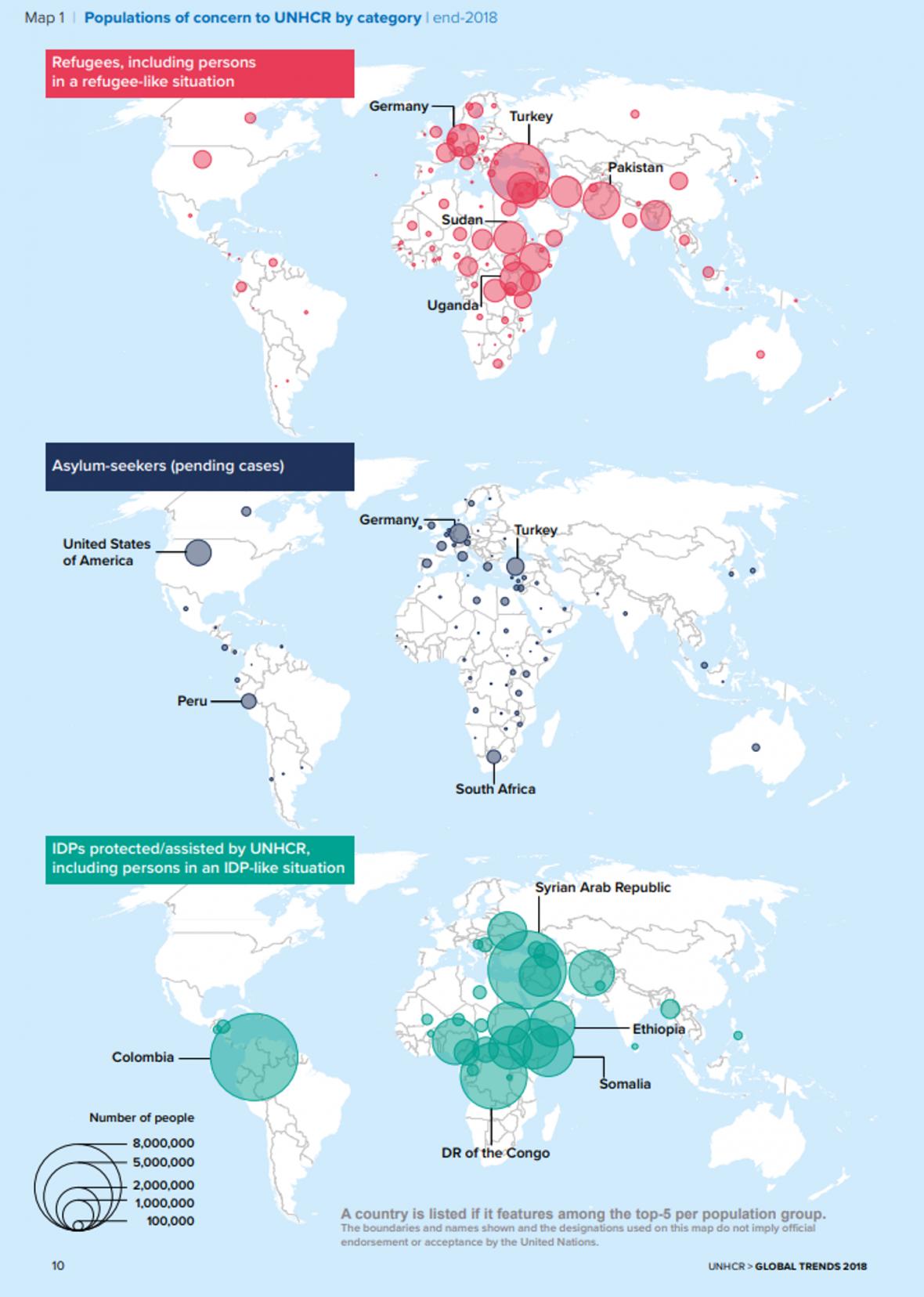 Červeně uprchlíci, modře žadatelé o azyl, zeleně vnitřně vysídlení