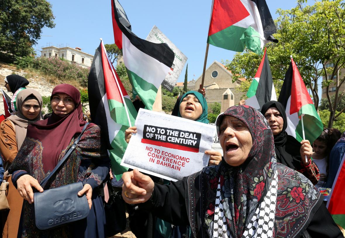 Palestinský protest proti Trumpovu mírovému plánu